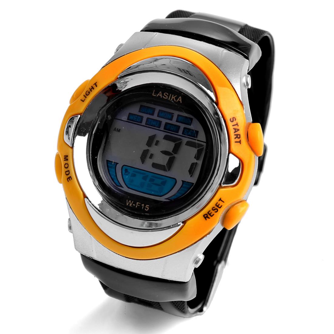 Man Black Orange Plastic Adjustable Band Alarm Date Clock Sports Watch