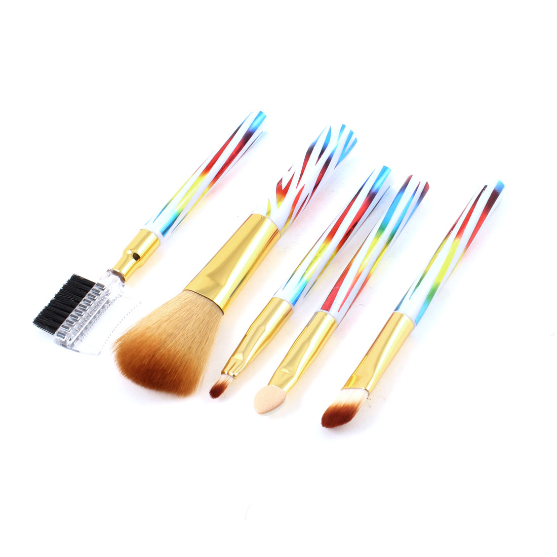 Colorful Handle Beauty Tool Brush Set Eyebrows Comb Eyeshadow Applicator 5pcs
