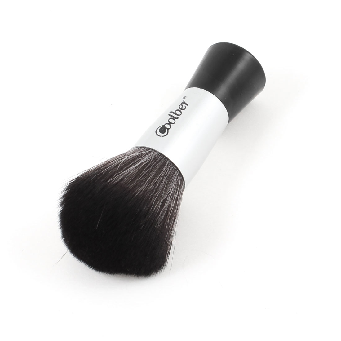 Lady Black Silver Tone Alloy Handle Brown Synthetic Hair Powders Blush Brush