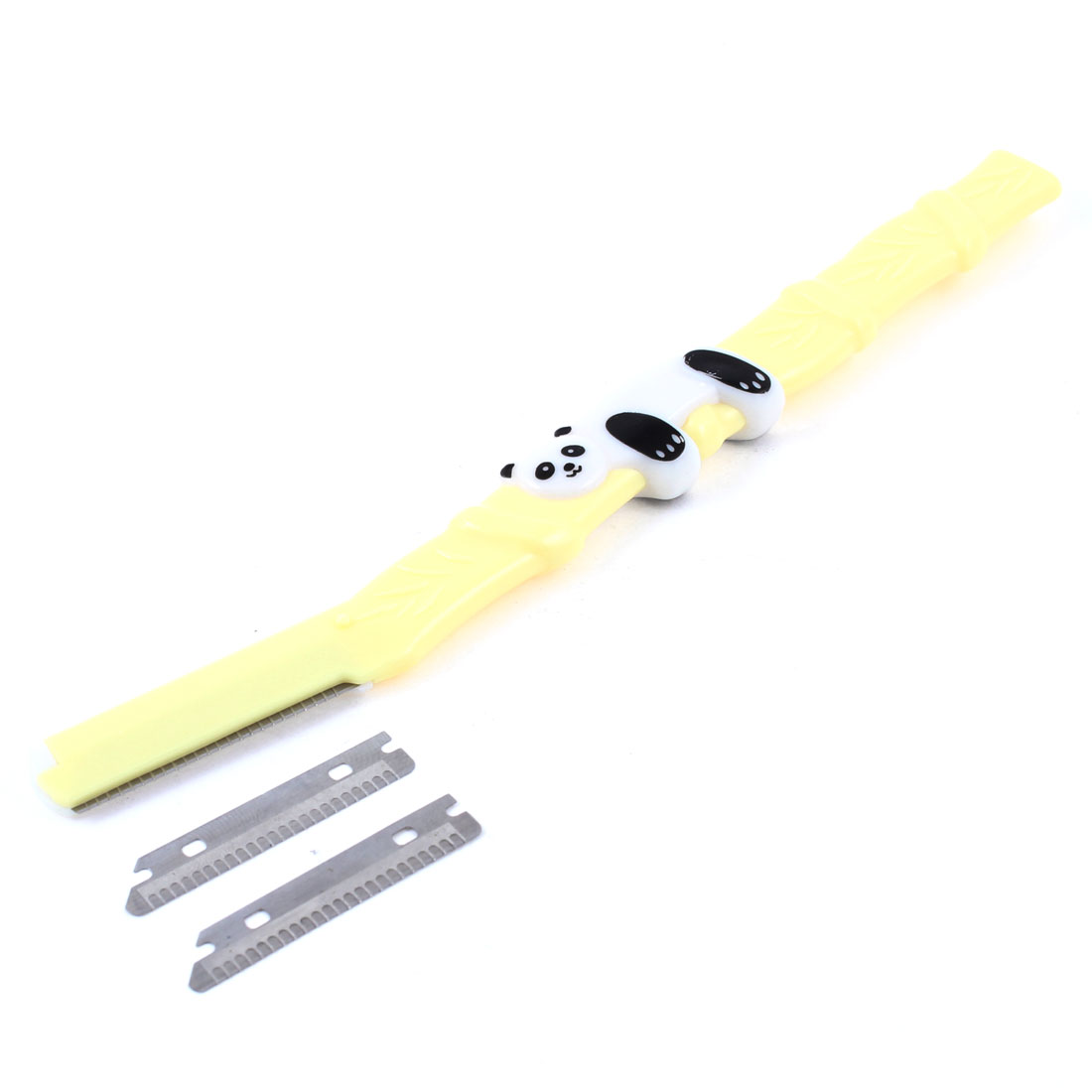 Yellow Plastic Eyebrow Razor Trimmer Shaper w Replacement Blade for Lady