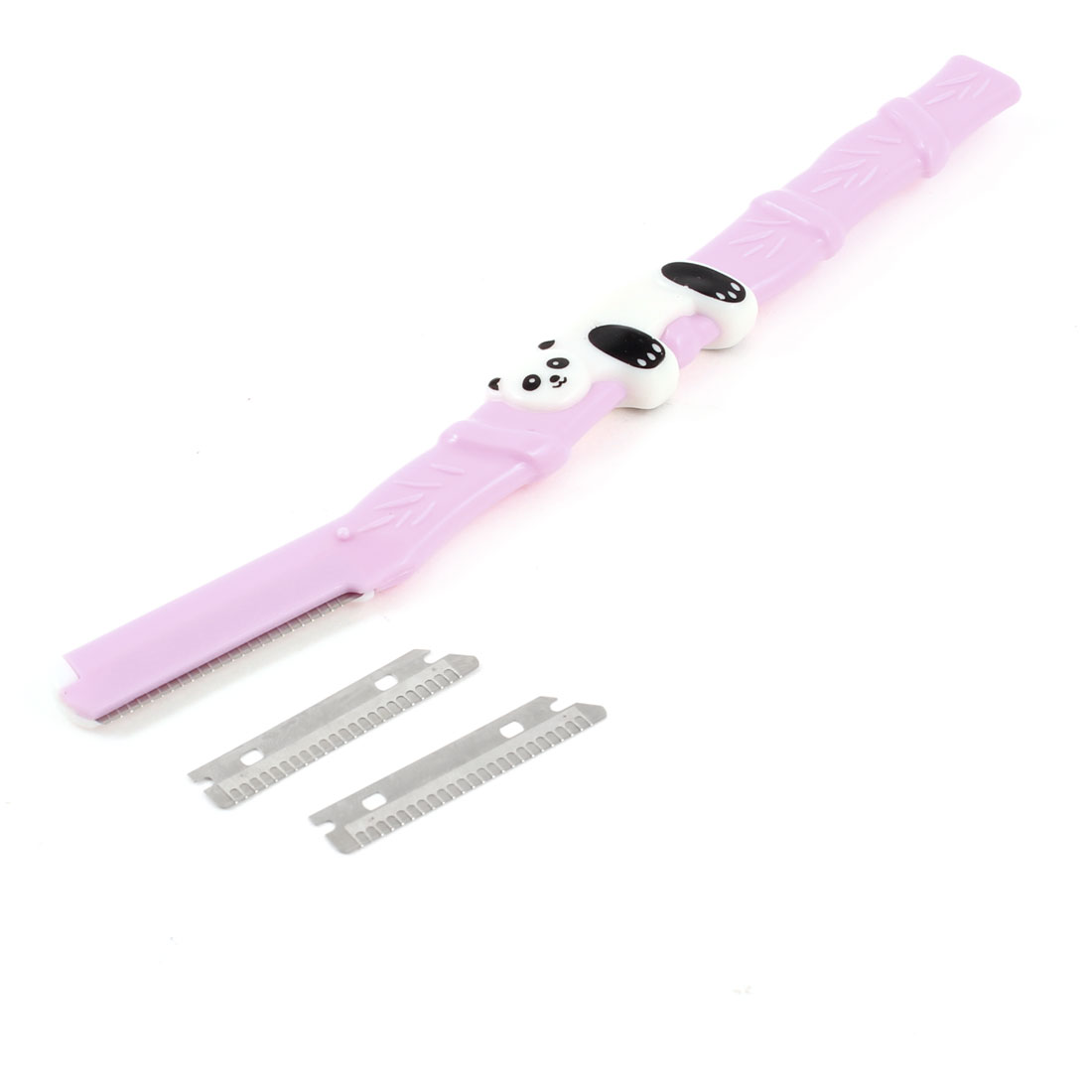 Women Panda Decor Handle Eyebrow Razor Shaver Light Purple w Replacement Blade