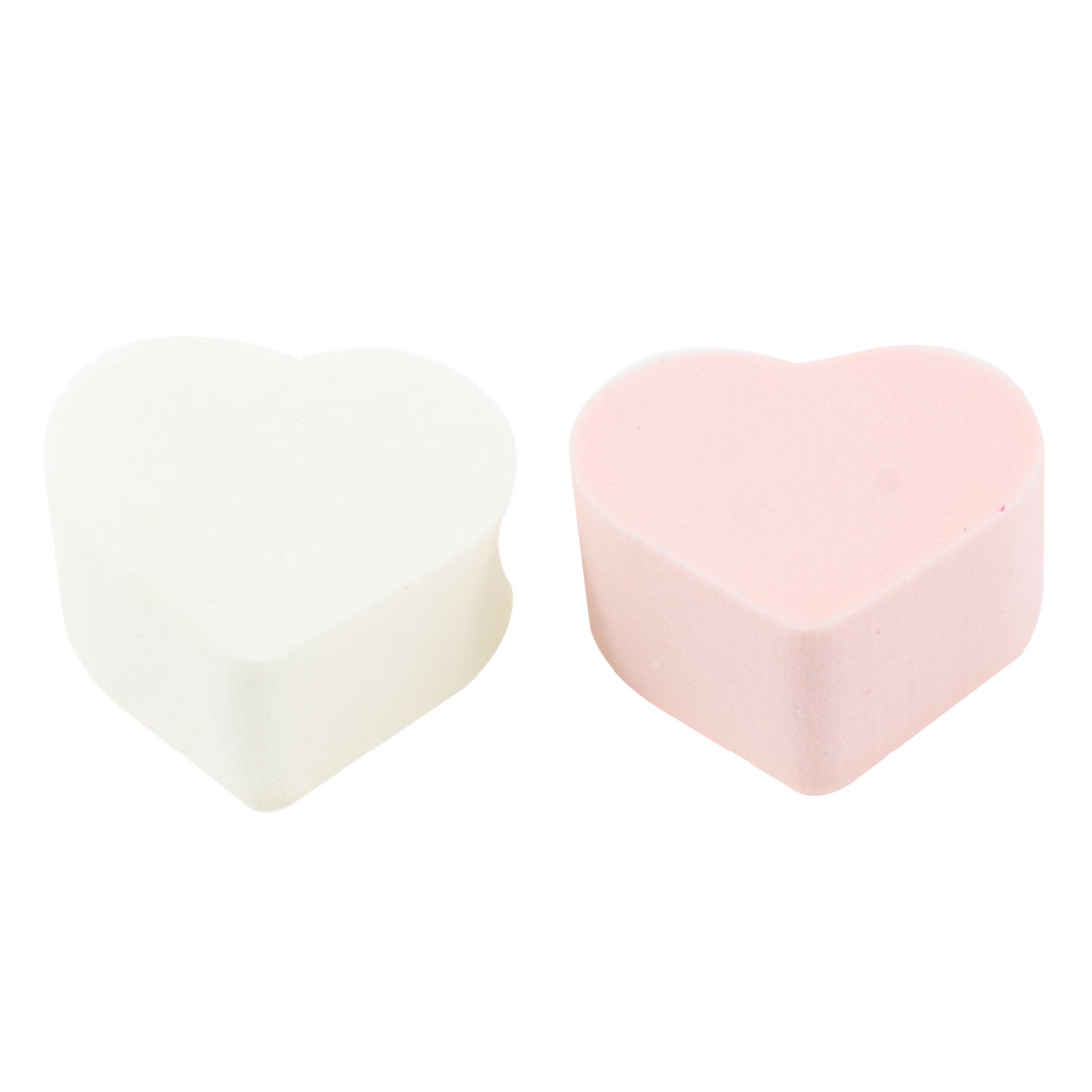 Lady Facial Care Heart Shaped Powderpuff Cosmetic Sponge White Pink 2 Pcs