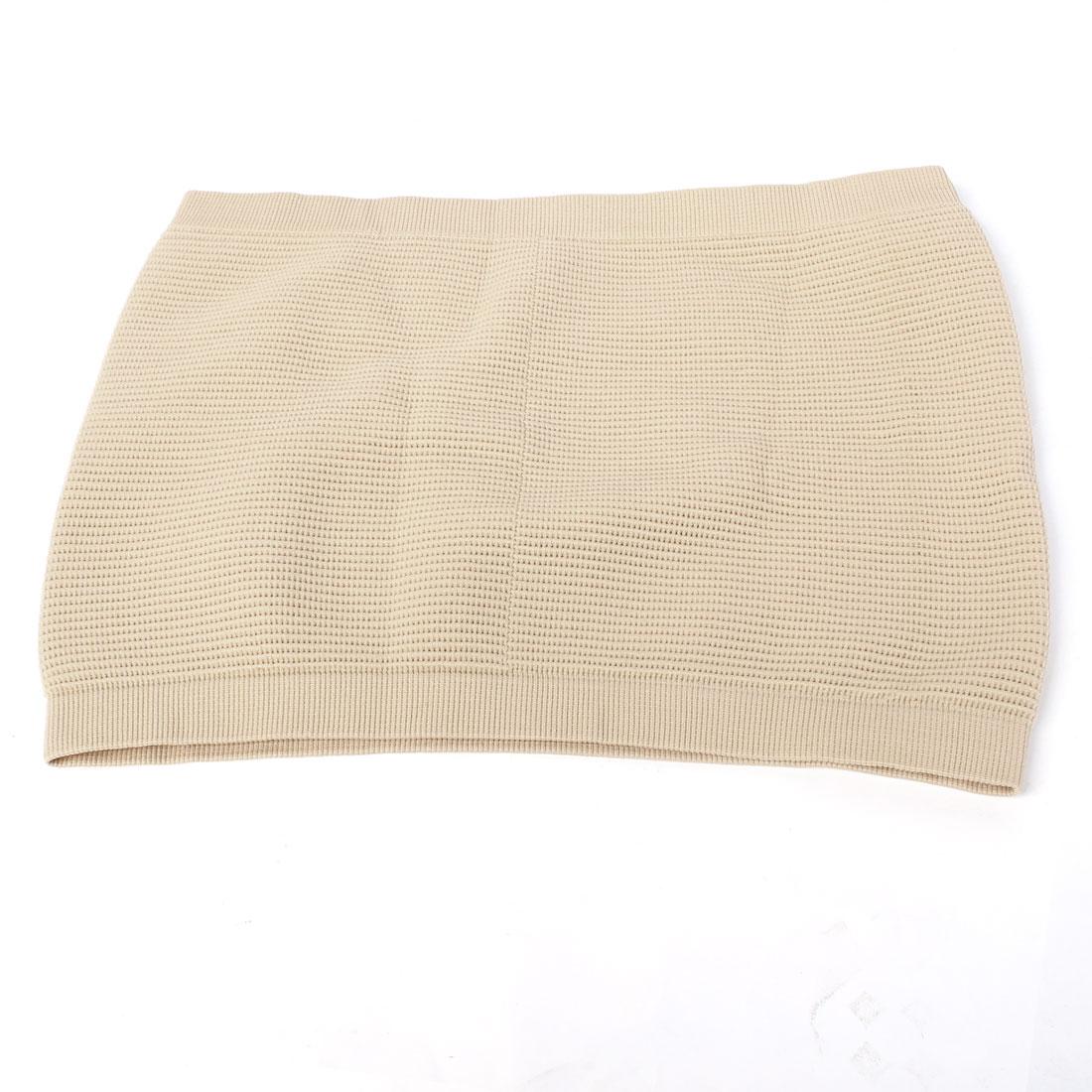 Women Beige Stretched Strapless Tummy Shaper Slimming Belt Waist Cincher M