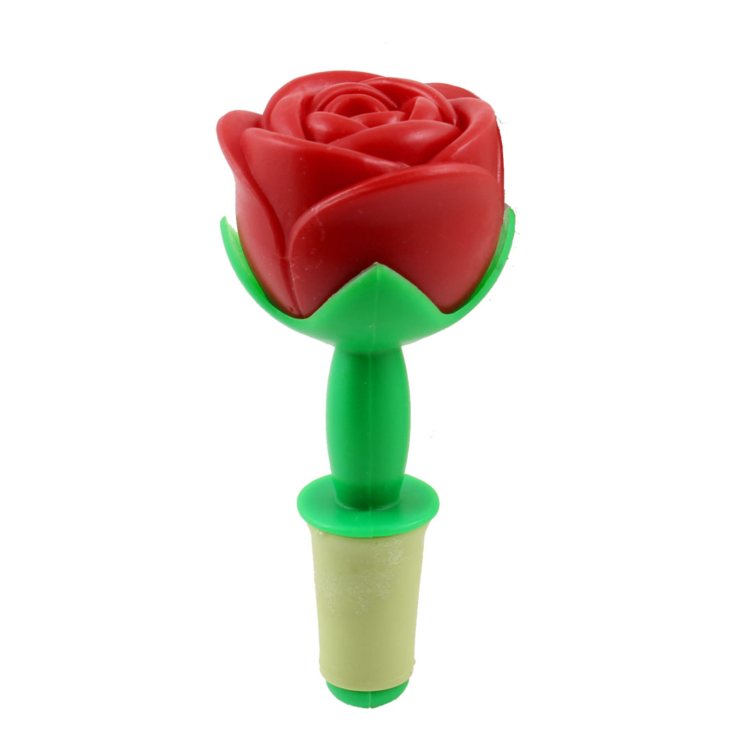 Plastic Red Rose Design Beige Rubber Wine Bottle Stopper