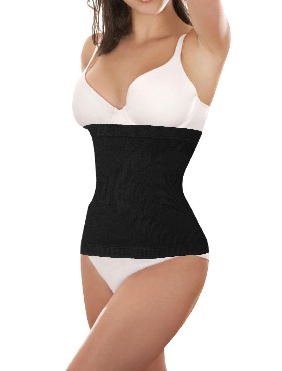 Ladies Black Stretchy Textured Strapless Trimmer Corset Waist Cincher M