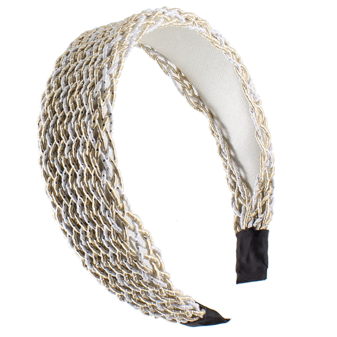 Lady Tinsel Detail Knitted Nylon Plastic Headband Hair Hoop Beige White