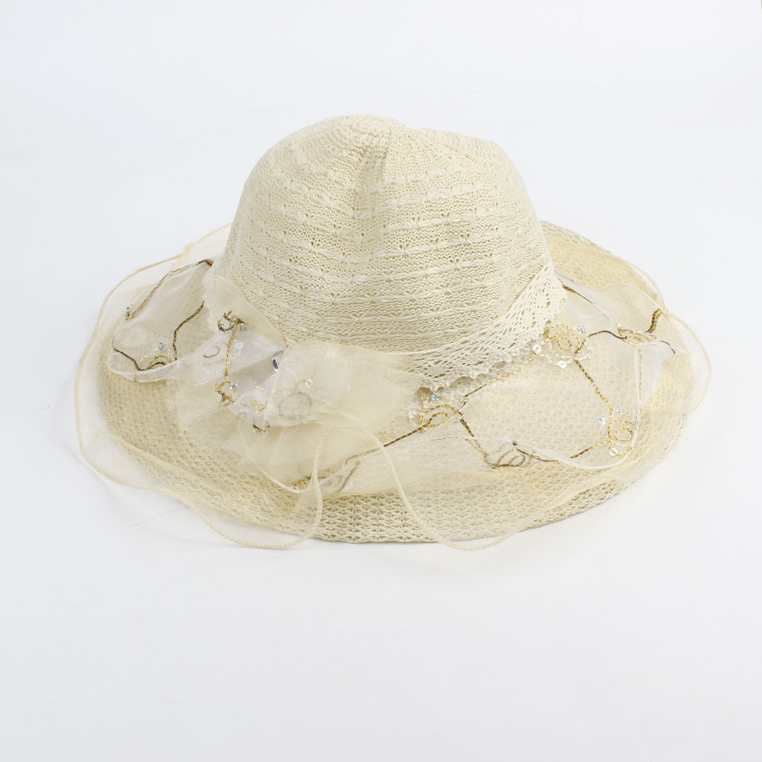 Ladies Head Wear Linen Lace Band Sequin Folwer Gauze Brim Braided Cap Hat Khaki