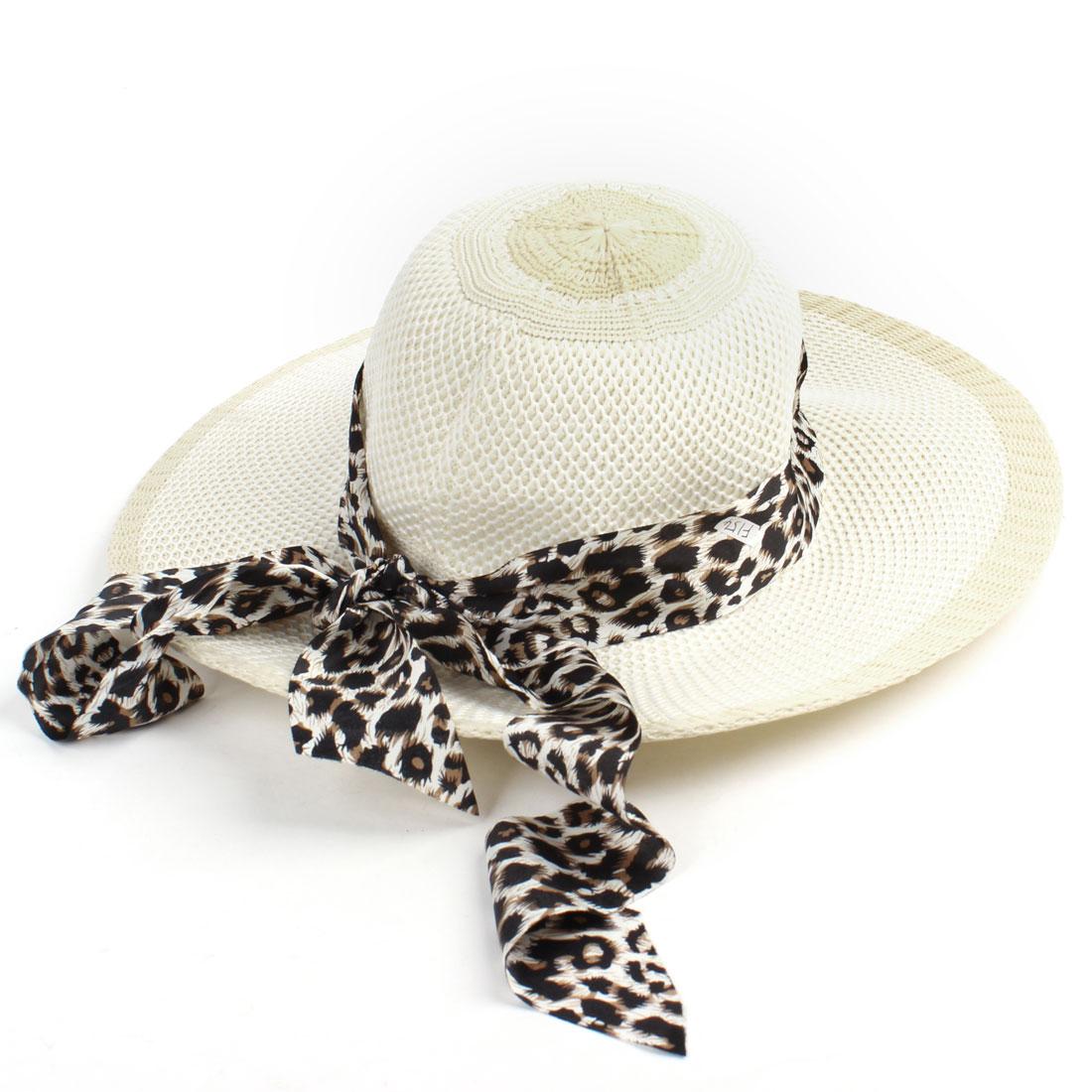 Head Wear Leopard Printed Band Linen Braided Cap Hat Beige for Ladies