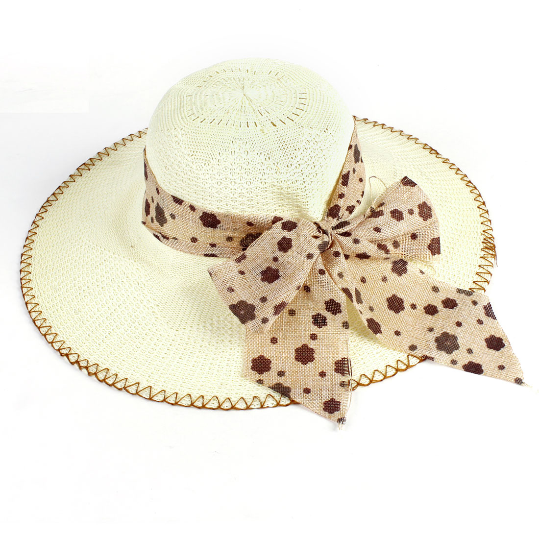 Lady Brown Linen Bow Tie Band Elastic Neck Strap Stitched Hem Braided Hat Beige