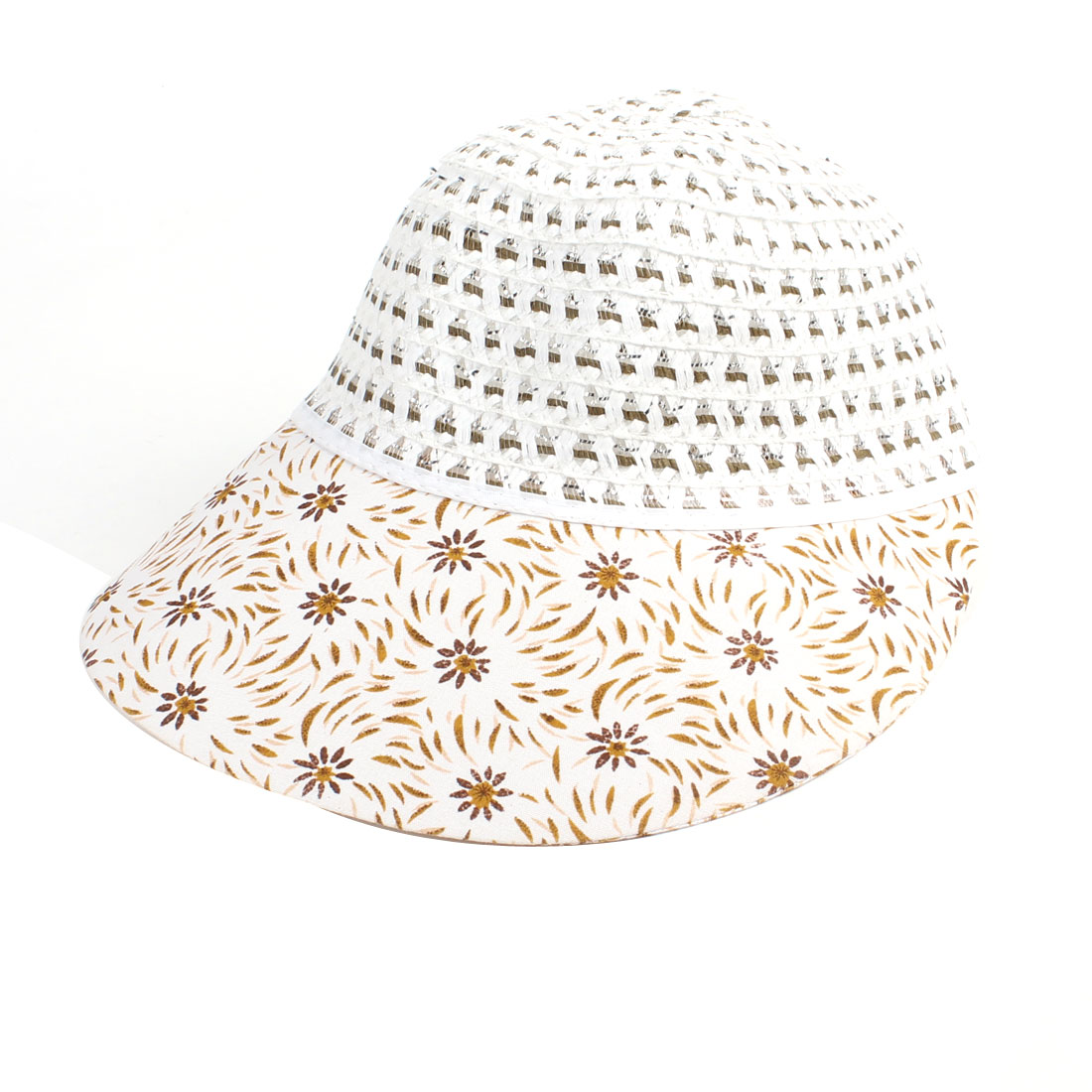 Elastic Band Nylon Plastic Straw Beach Sun Visor Cap Hat Brown White for Woman