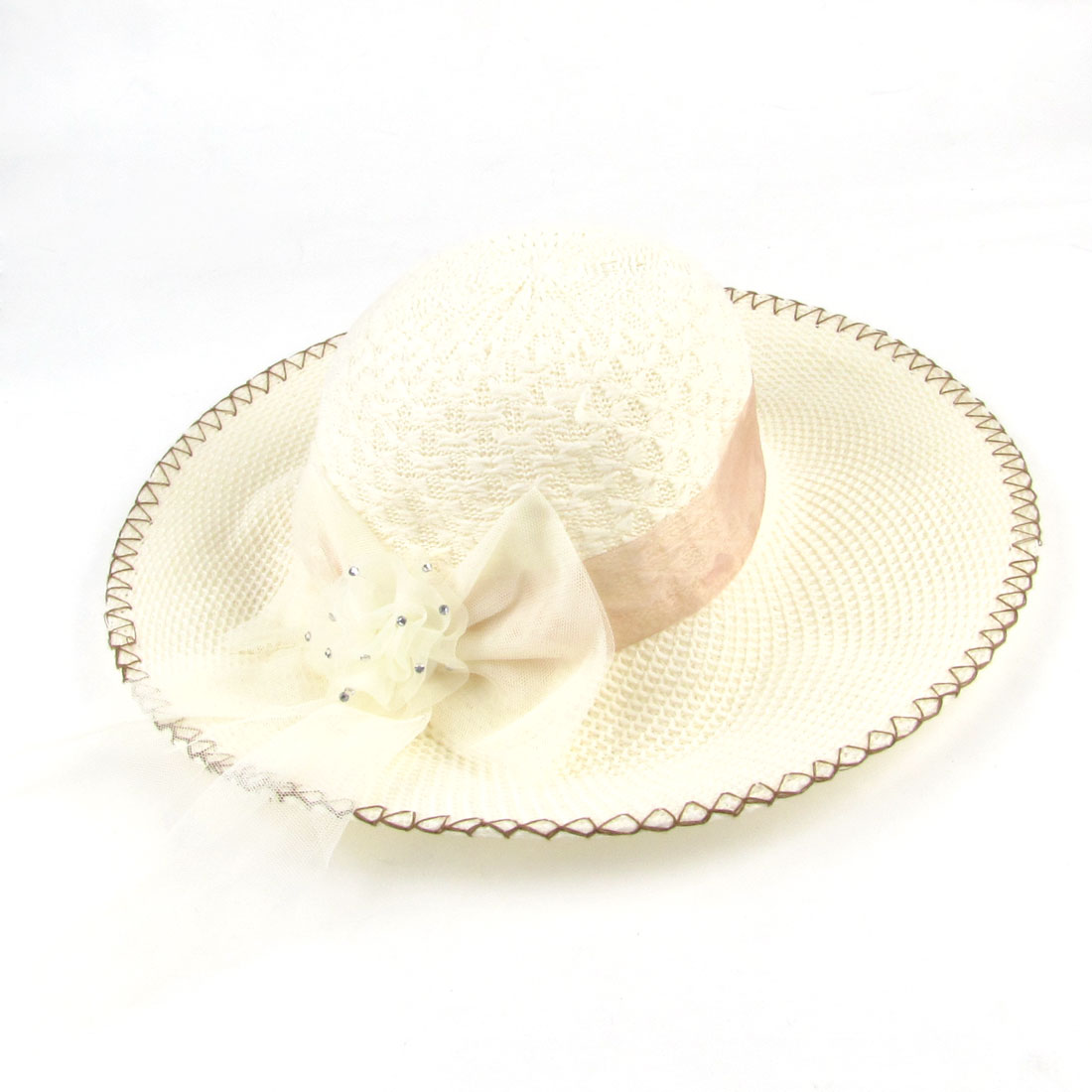 Head Wear Mesh Bowknot Decor Brown Stitch Hem Braided Cap Hat Ivory for Ladies