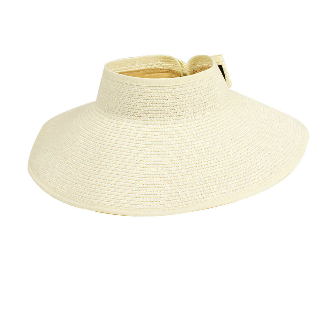 Women Top Open Style Bowknot Foldable Straw Sun Wide Brim Cap Hat Beige