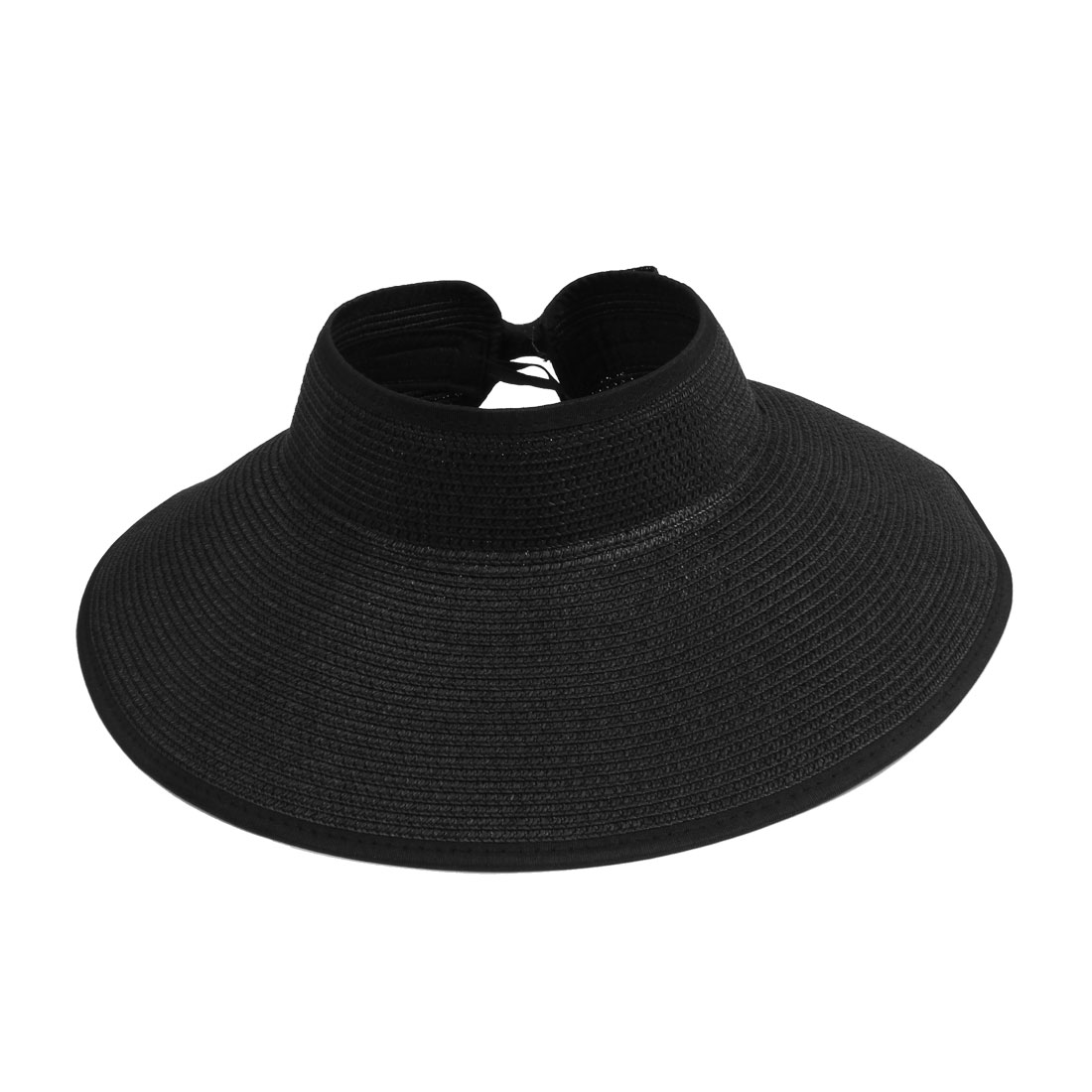 Lady Summer Bow Tie Decor Nylon Hem Foldable Black Wide Brim Straw Hat