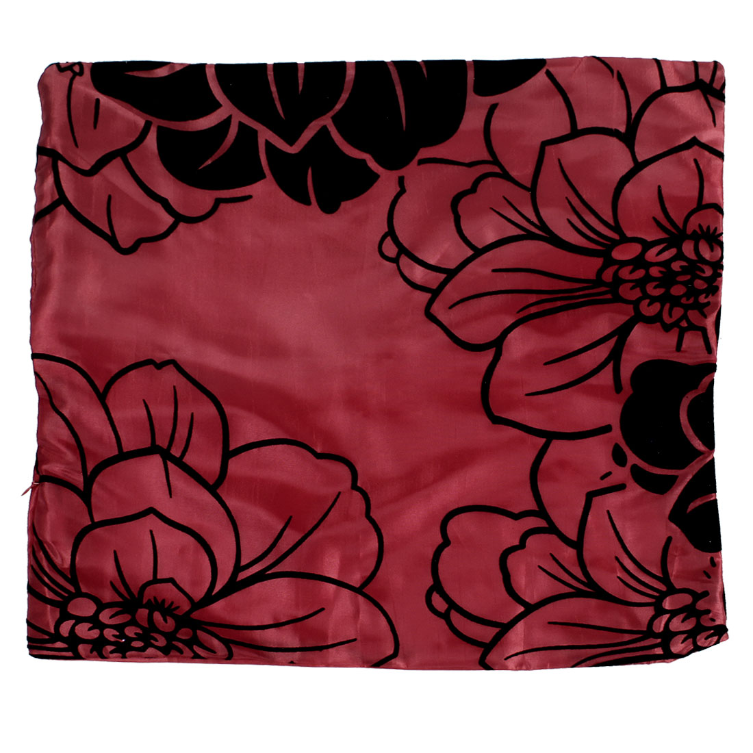 Home Black Fannel Flower Print Nylon Pillow Cover Case Red
