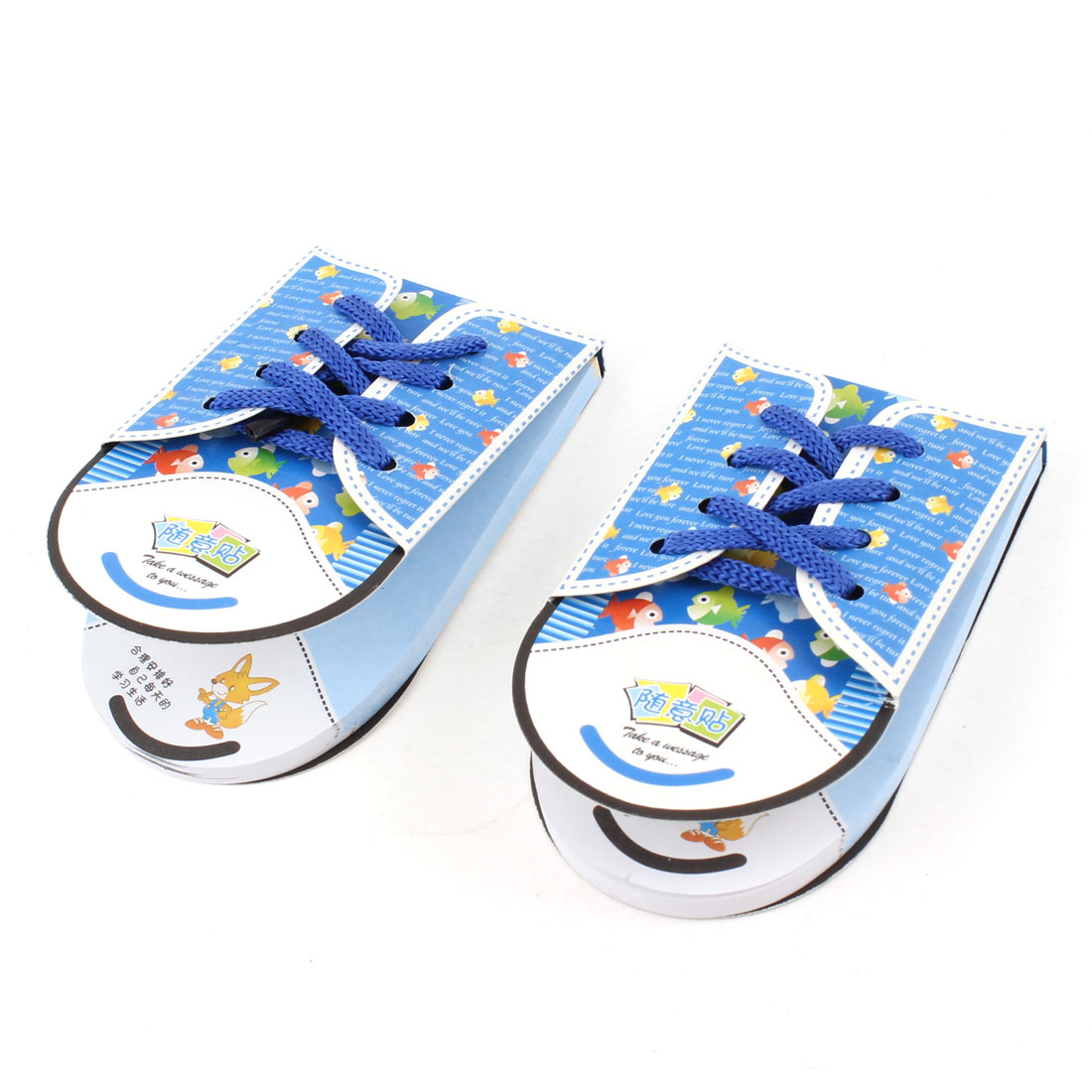 2pcs Blue Shoe Shoelace Design Adhesive Notepad Memo Paper