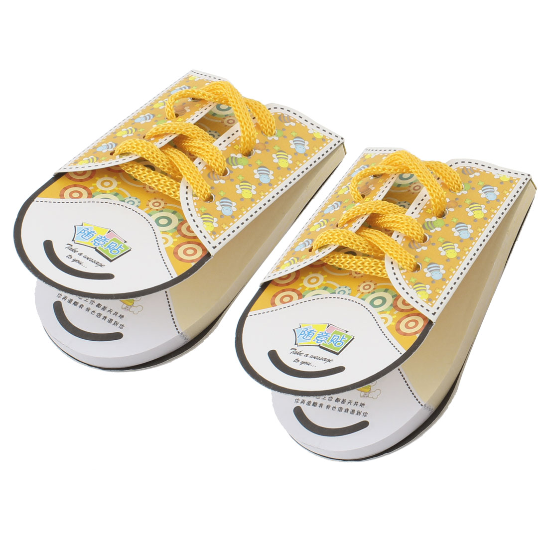 2 Pcs Shoelace Shape Sticky Yellow Memo Note Paper Notepaper