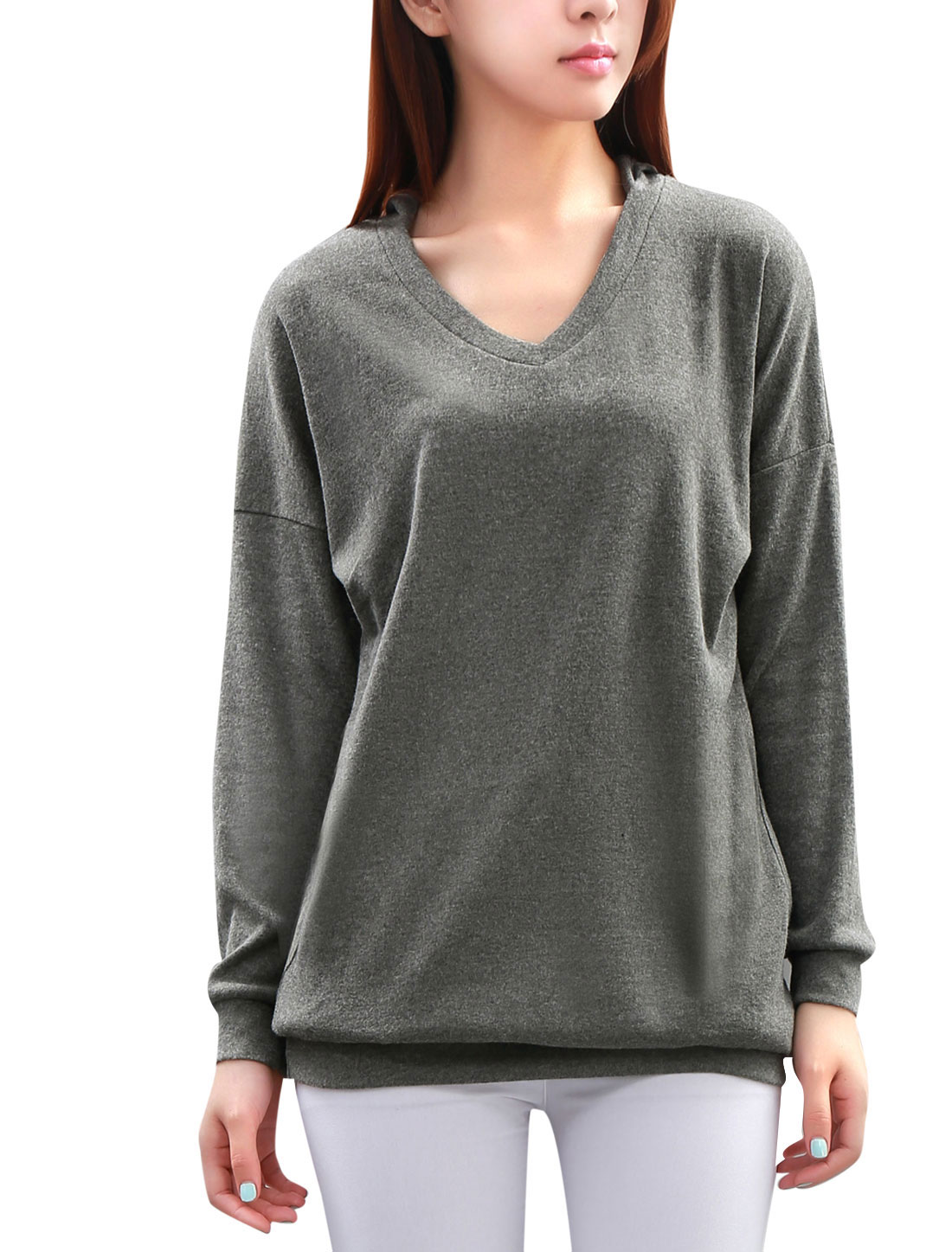 Lady Gray Long Dolman Sleeve V Neckline Design Tunic Hoodie S