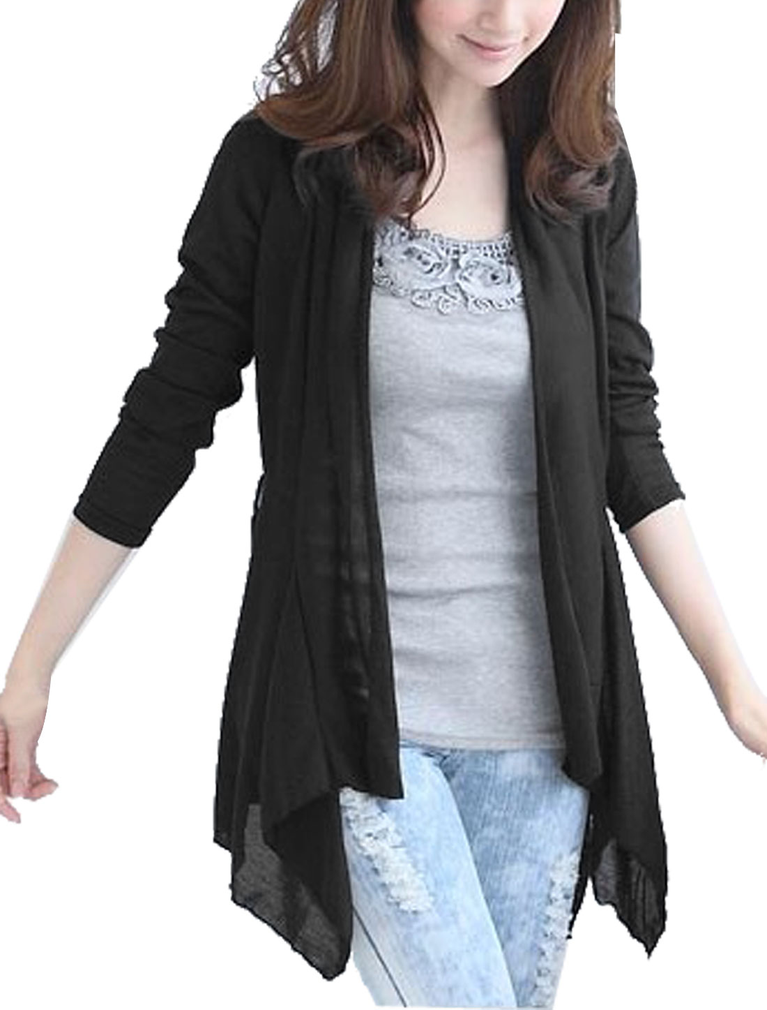 Ladies Black Irregular Hem Solid Color Leisure Stylish Cardigan M