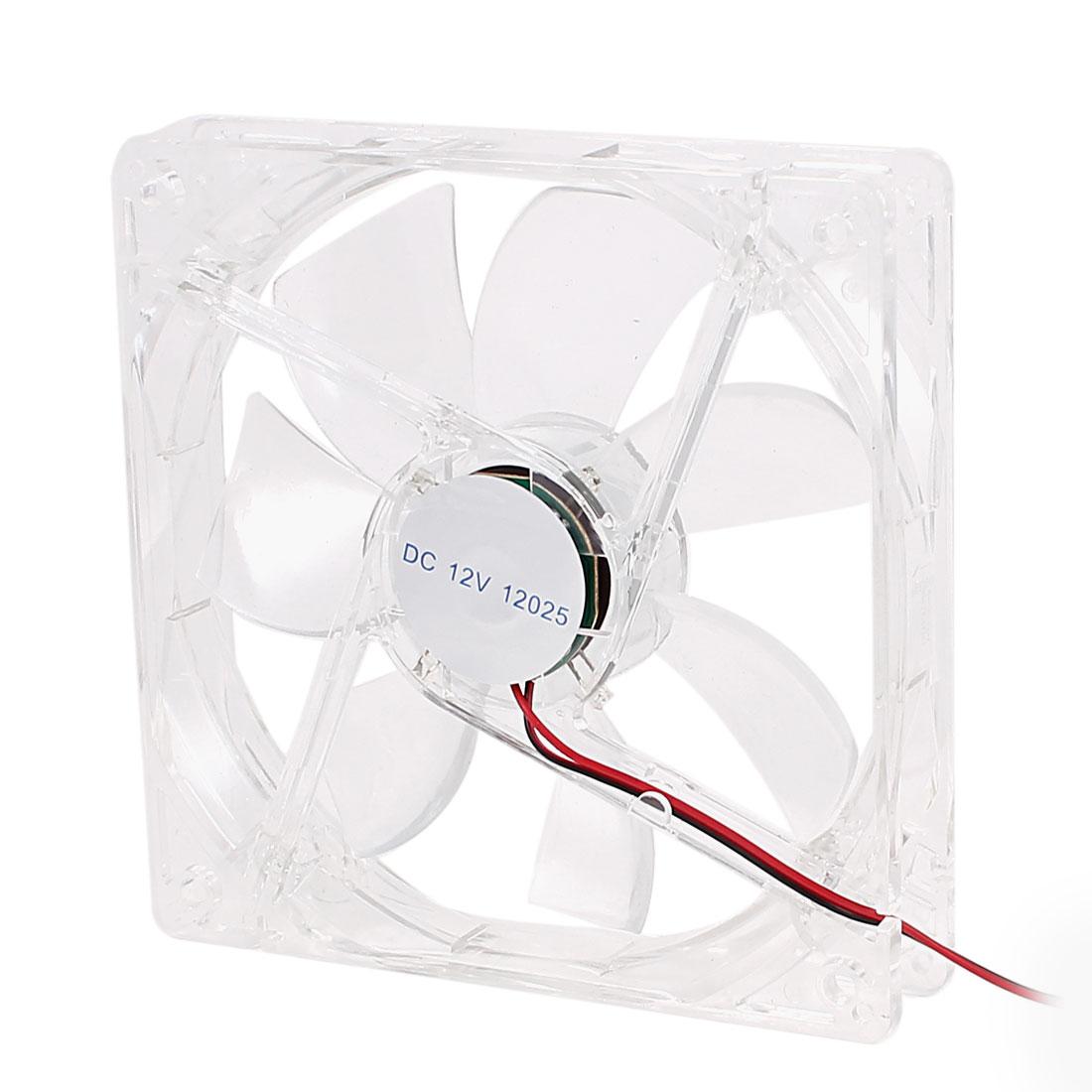 120mm x 25mm DC 12V Double Connectors 4 Multicolor LED Clear PC Fan Cooler