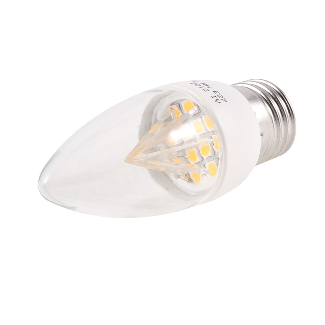 E27 Socket Yellow 12 LEDs Light Candle Bulb Lamp 2W AC 220V 3000K