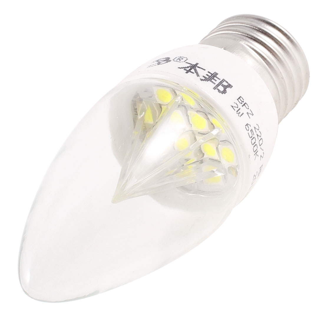 Decorative 6500K 2W 220V E27 Screw Base White 12 LEDs Candle Bulb