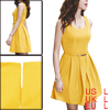 Lady Yellow Scoop Neck Sleeveless Ruched Detail Hidden Zip Closure Mini Dress L w Belt