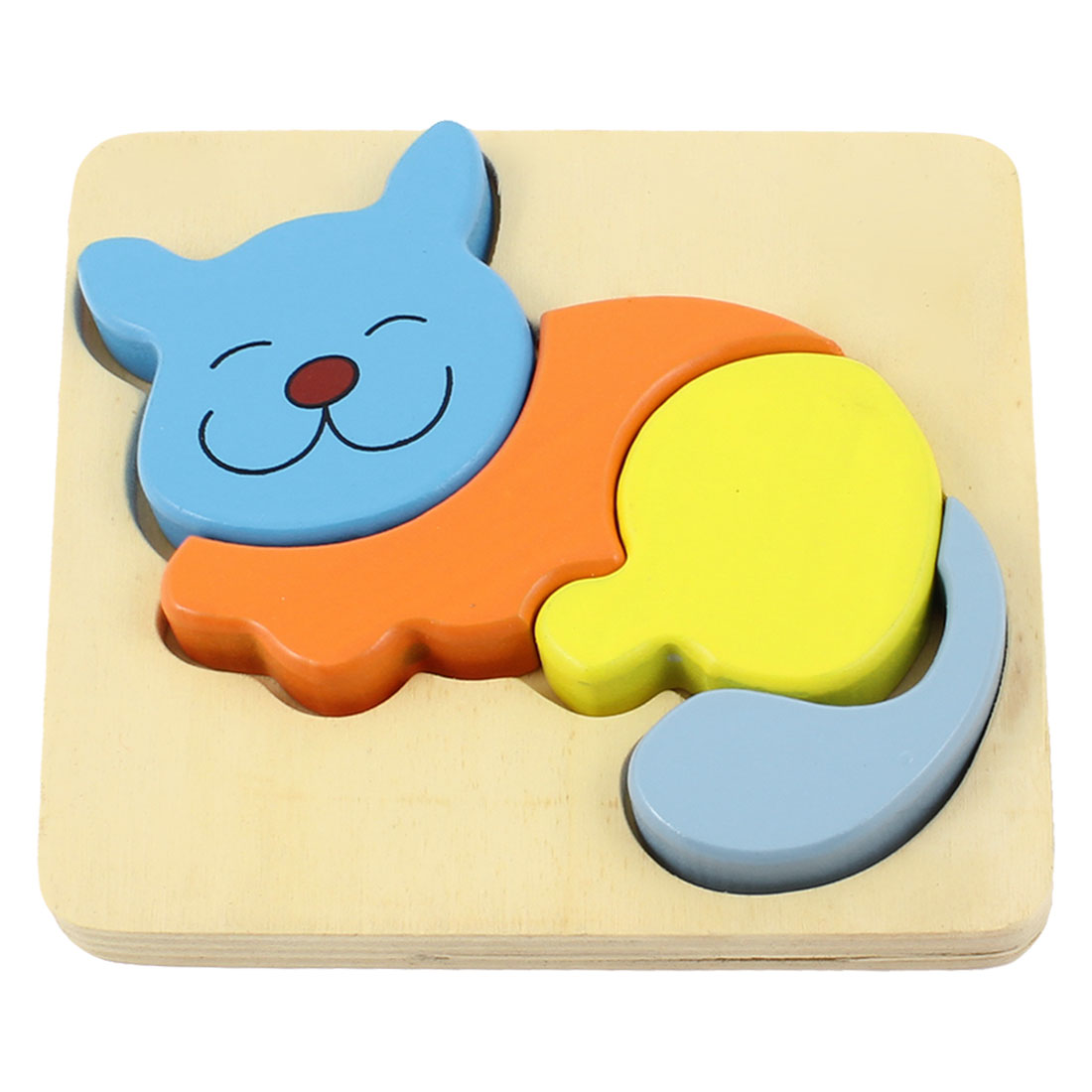 Colored Cat Model Educational Assemble Wooden Puzzle Toy for