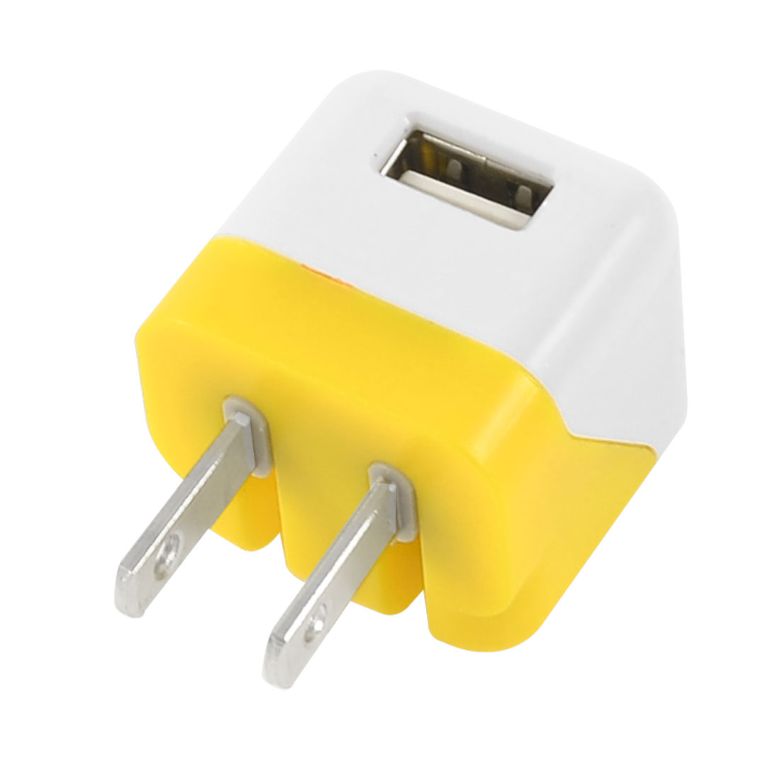 AC 100-240V US Plug to USB 2.0 Charger Adapter Yellow White for Mp3 Phone