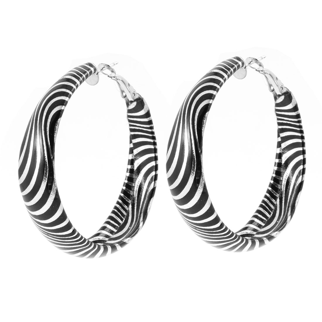 Ladies Black Silver Tone 4.7cm Dia Zebra Pattern Circle Loop Hook Earrings