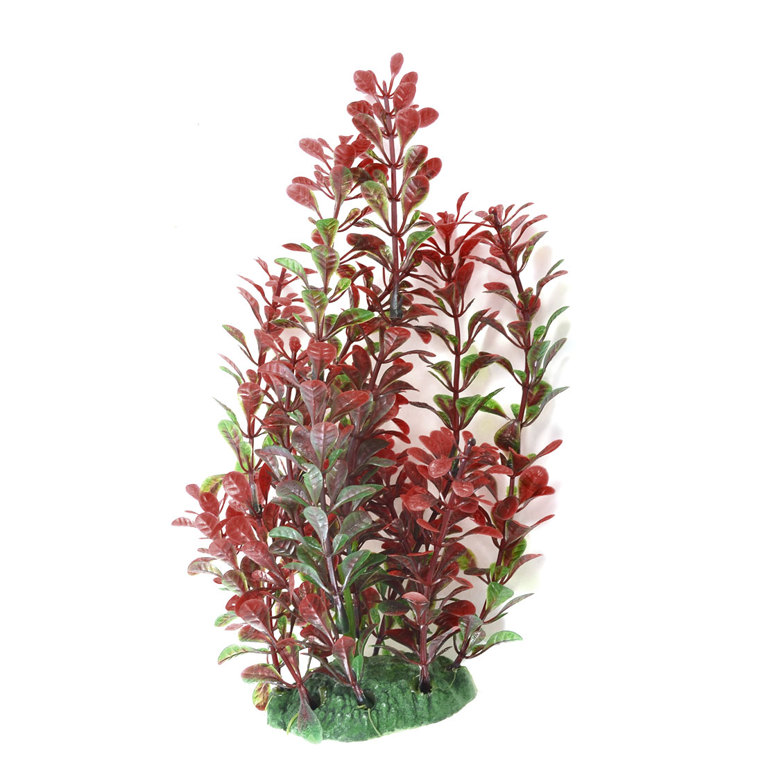 "Red Green Leaves Manmade Water Grass 7"" High for Fish Tank"
