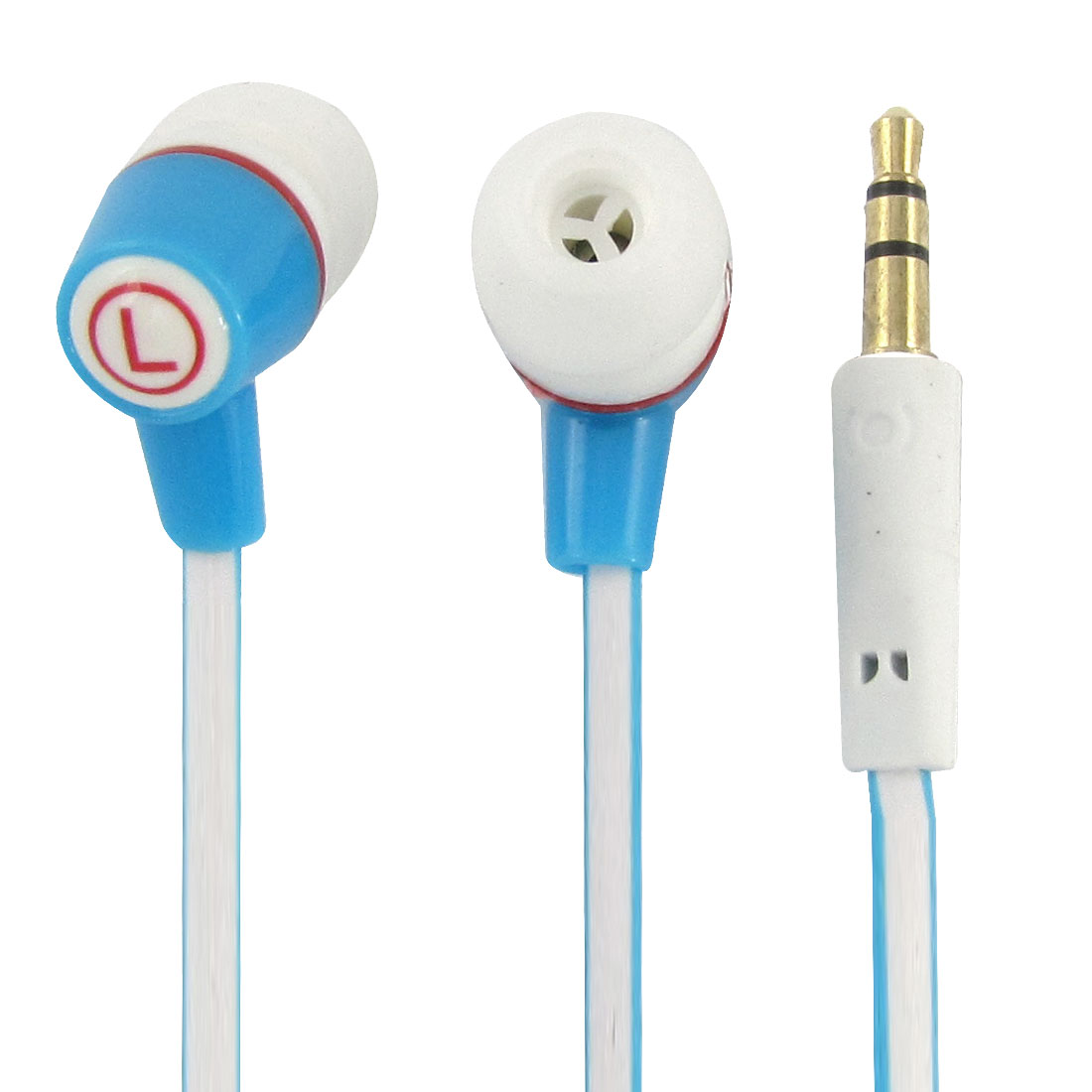 3.5mm Plug Earphone Headphone 3.8ft Cable White Blue for Smartphone
