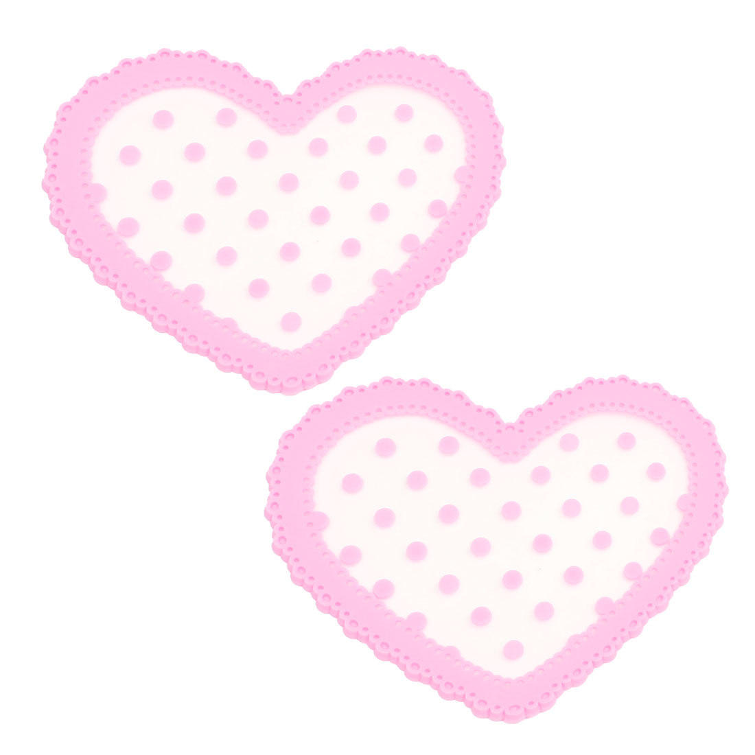 Pink White Silicone Dot Pattern Heart Anti Slip Table Cup Placemat Coaster 2pcs