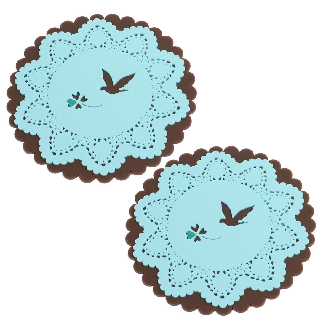 Blue Brown Flower Hem Silicone Anti Slip Table Cup Placemat Coaster 2 Pcs