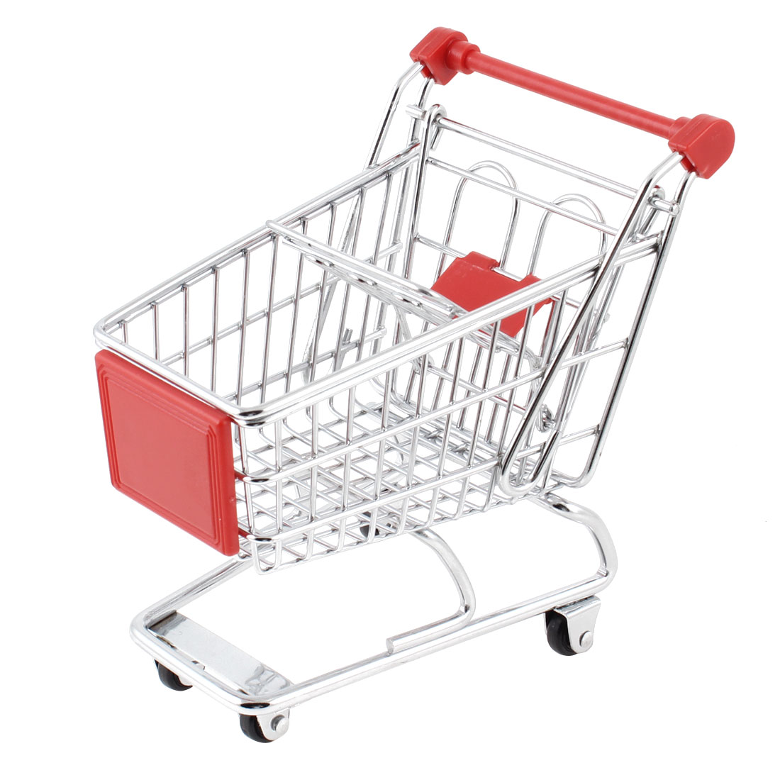 Stainless Steel Mini-Shopping Cart Model Toy Container Red Silver Tone