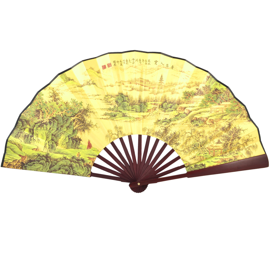 Ancient Mountain Village Print Yellow Cloth Bamboo Frame Chinese Traditional Fan
