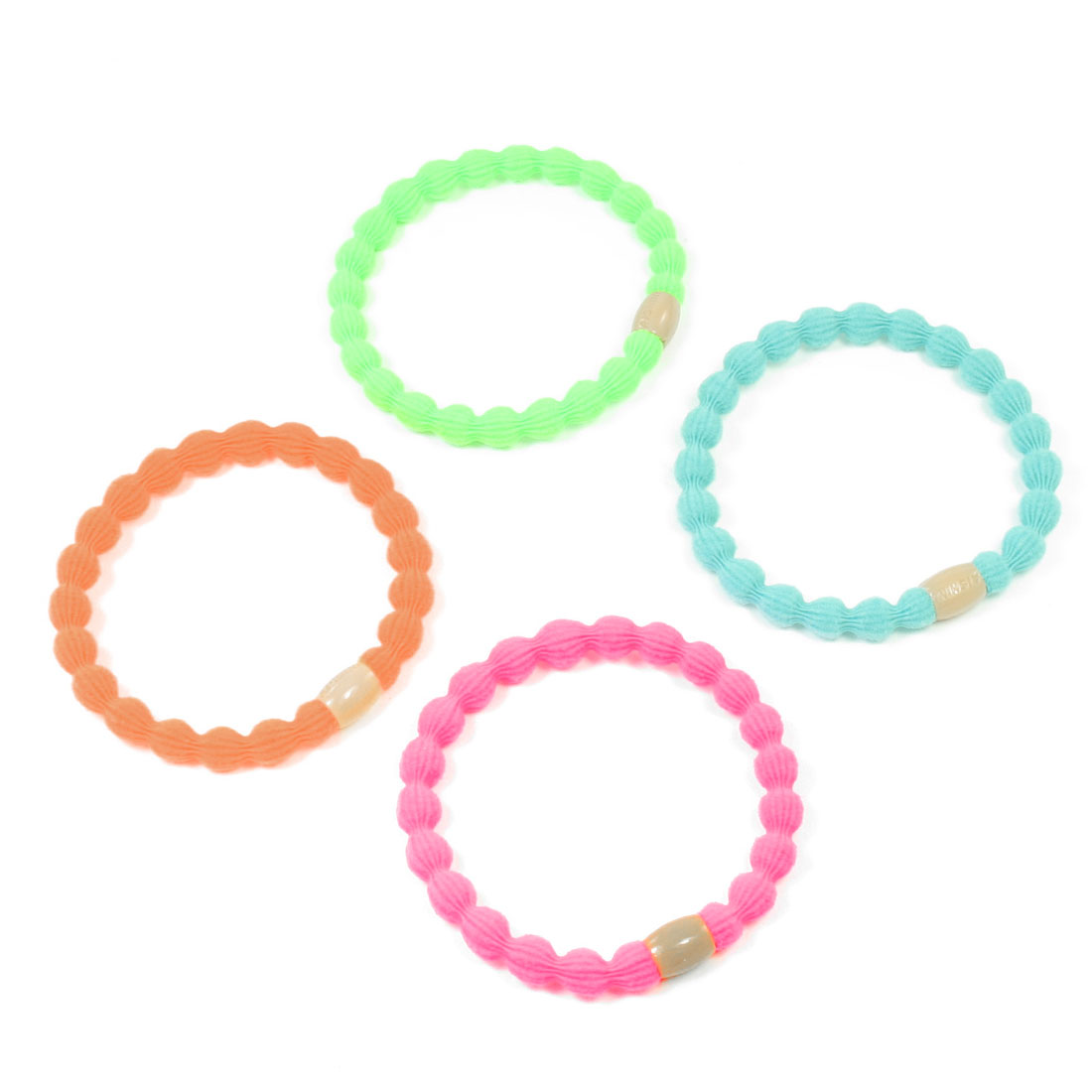4 Pcs Orange Light Blue Round Elastic Ponytail Holder Hair Ties for Women