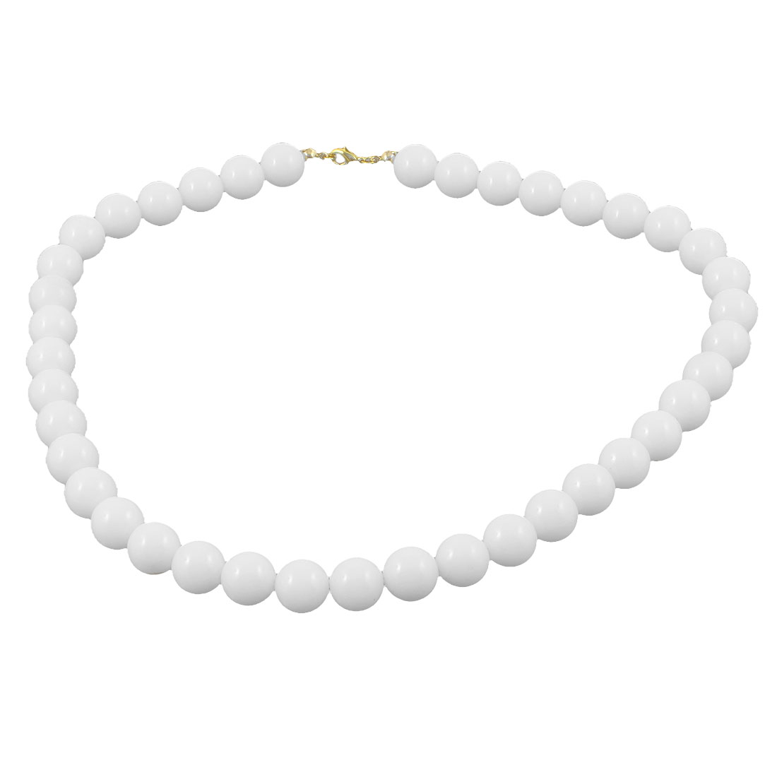 Lady White Imitation Pearl Beads Linked Lobster Clasp Princess Necklace Jewelry