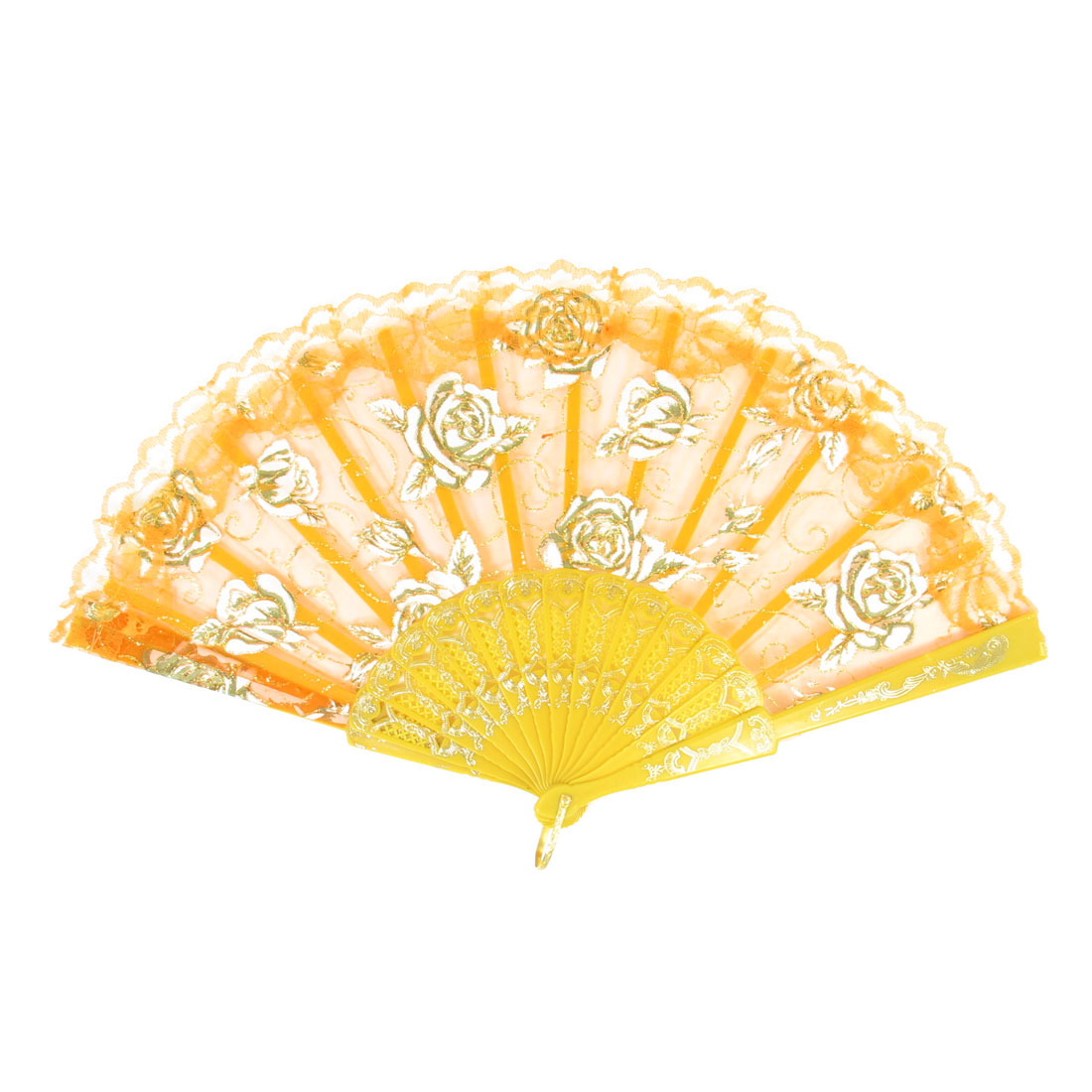 U Ring Rose Pattern Lace Trim Plastic Frame Orange Yellow White Folding Hand Fan
