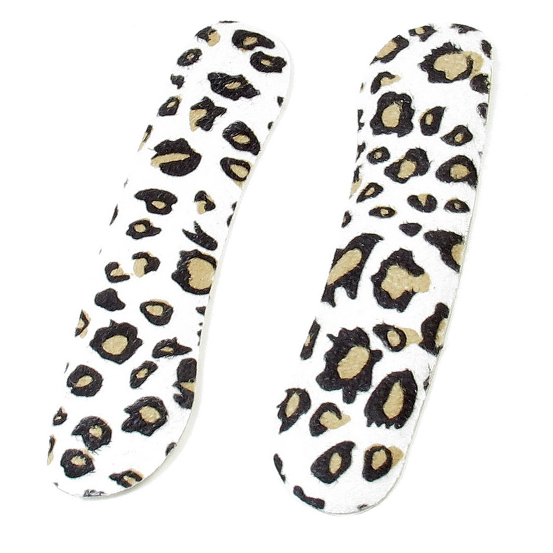 Women 2pcs White Black Silicone Leopard Print High Heel Shoes Insoles Back Pads