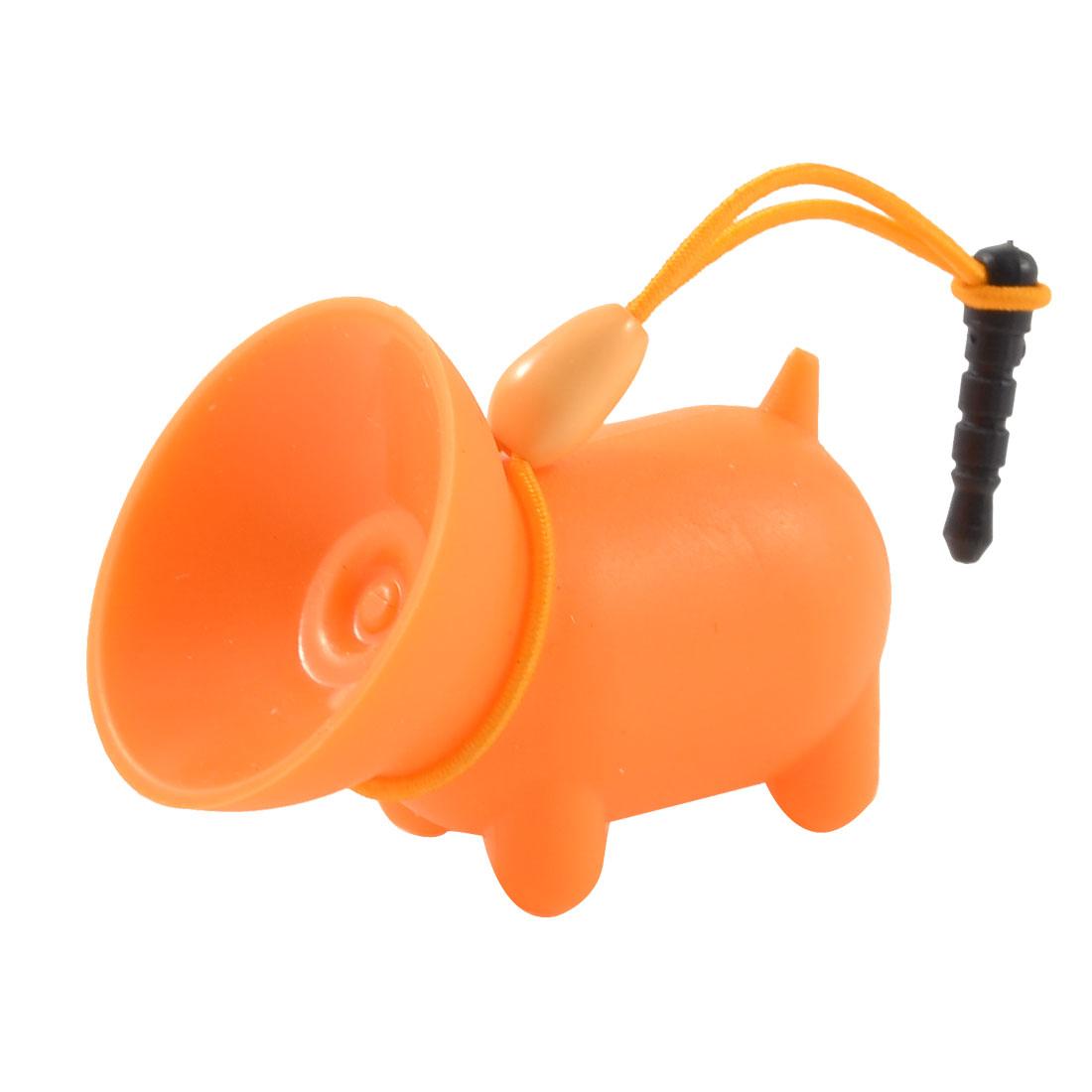 Orange Soft Plastic Pig Design Suction Stand w Dust Plug for MP4 Mobile Phone
