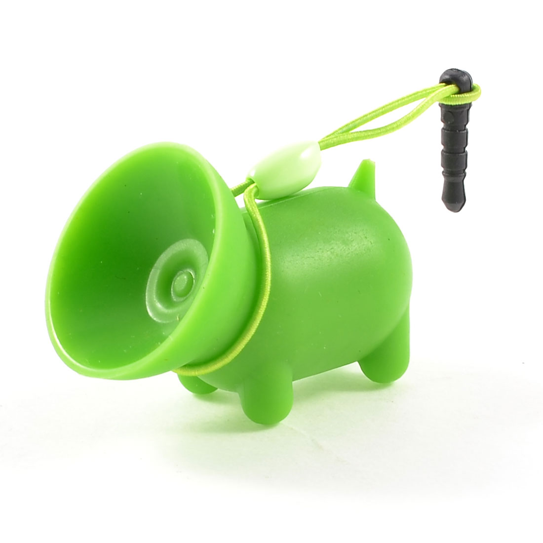 Green Soft Plastic Pig Shape Suction Stand Holder w Dust Plug for Mobile Phone