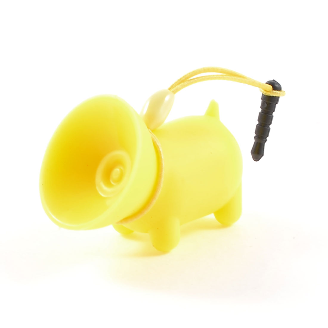 Yellow Soft Plastic Pig Design Suction Stand w Dust Plug for MP4 Mobile Phone