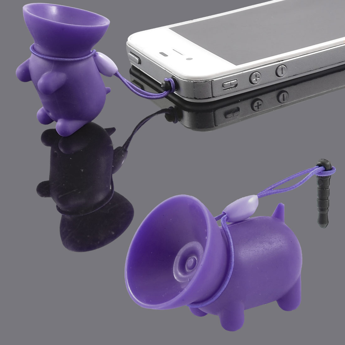 Purple Soft Plastic Pig Design Suction Stand w Dust Plug for MP4 Mobile Phone