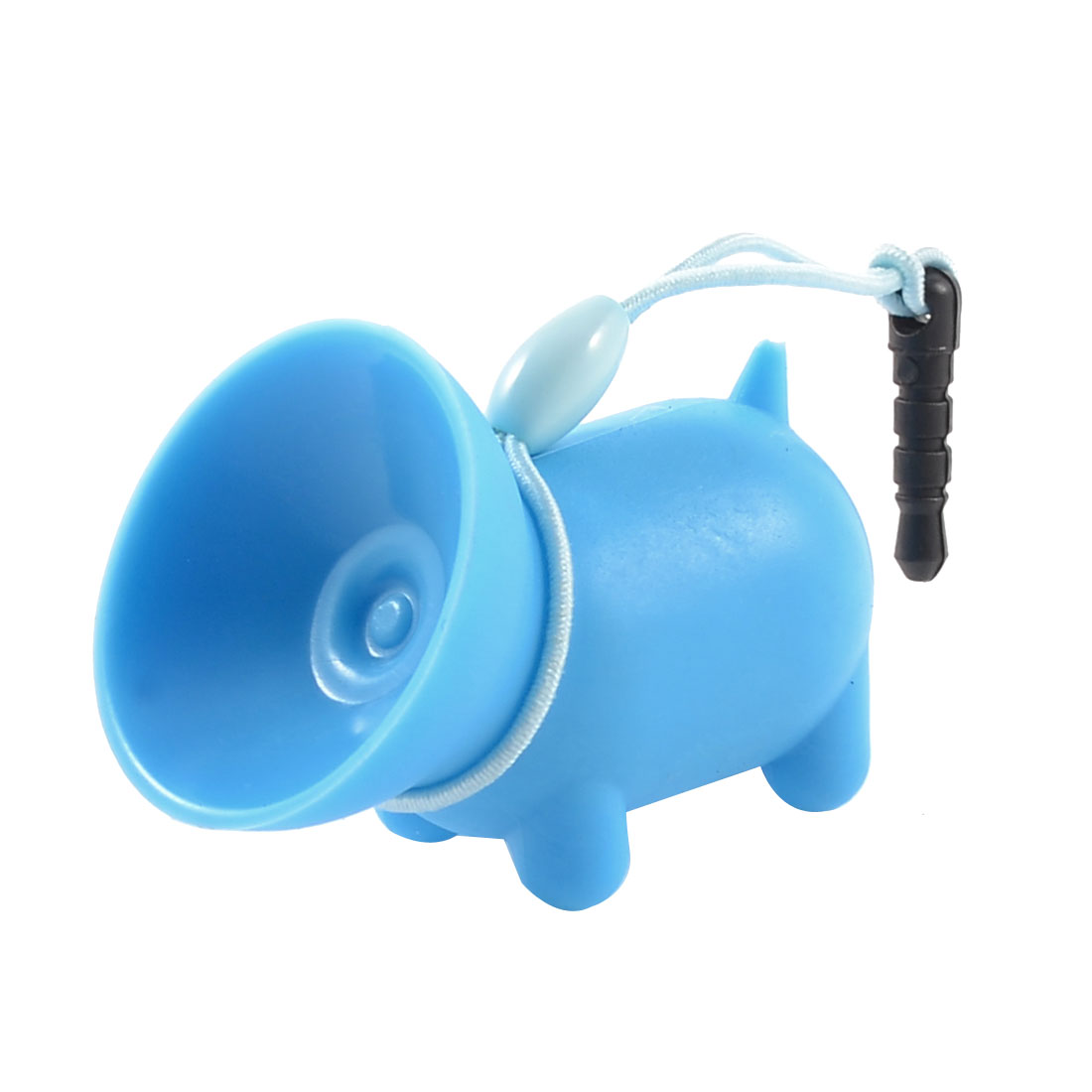 Sky Blue Soft Plastic Pig Shape Suction Stand Holder w Dust Plug for Mobile Phone