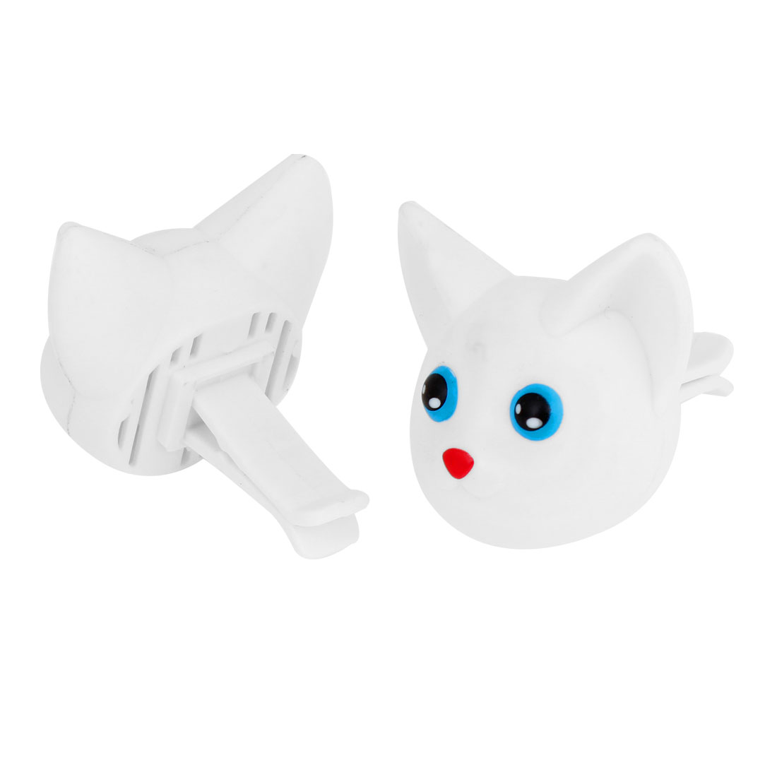2 x Cat Shaped Plastic Air Fragrance Freshener Case White + Clips for Auto