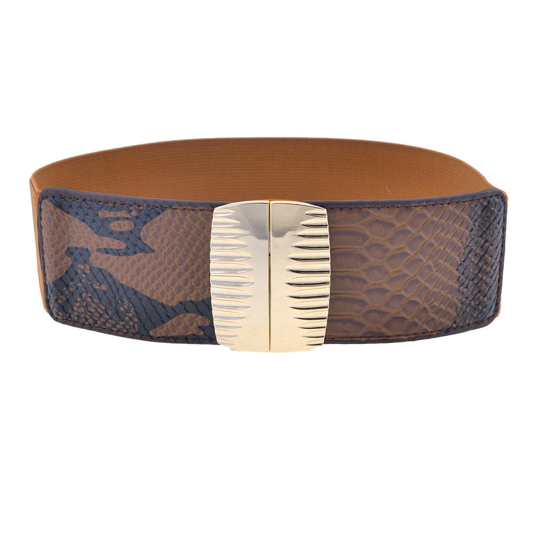 Women Rectangle Shaped Metal Interlock Buckle Dark Brown Flexible Cinch Belt