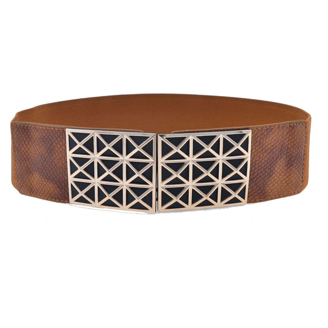 Ladies Brown Faceted Square Printed Metal Interlock Buckle Stretchy Waist Belt