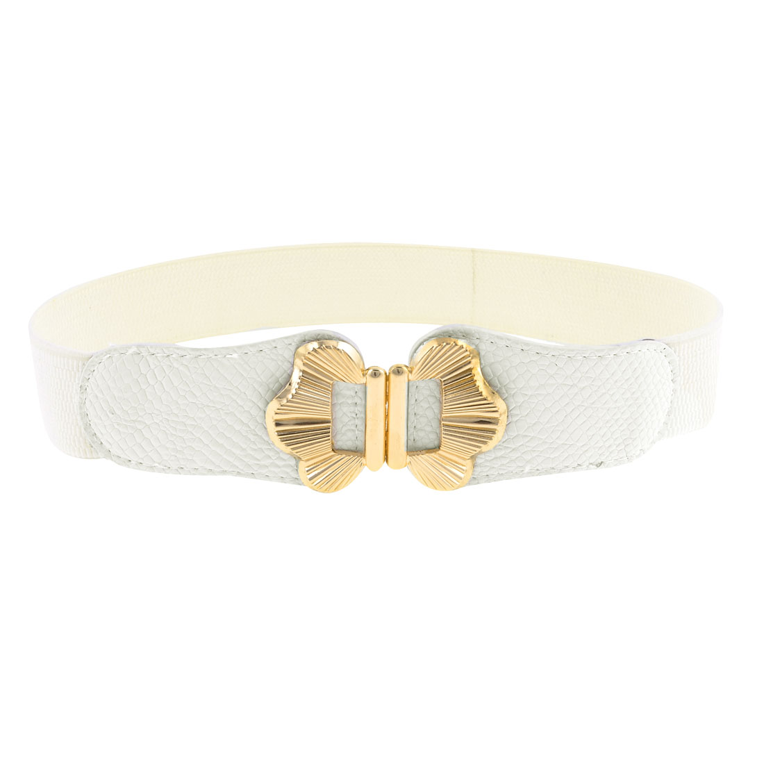 Metal Butterfly Design Interlocking Buckle White Elastic Cinch Belt for Women