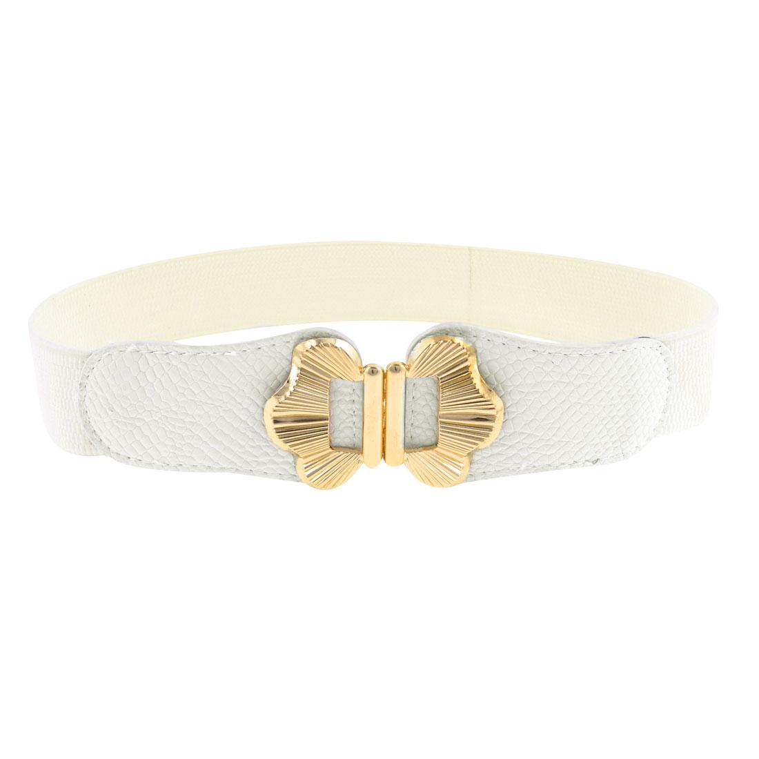 Metal Butterfly Design Interlocking Buckle White Elastic Cinch Belt for Women