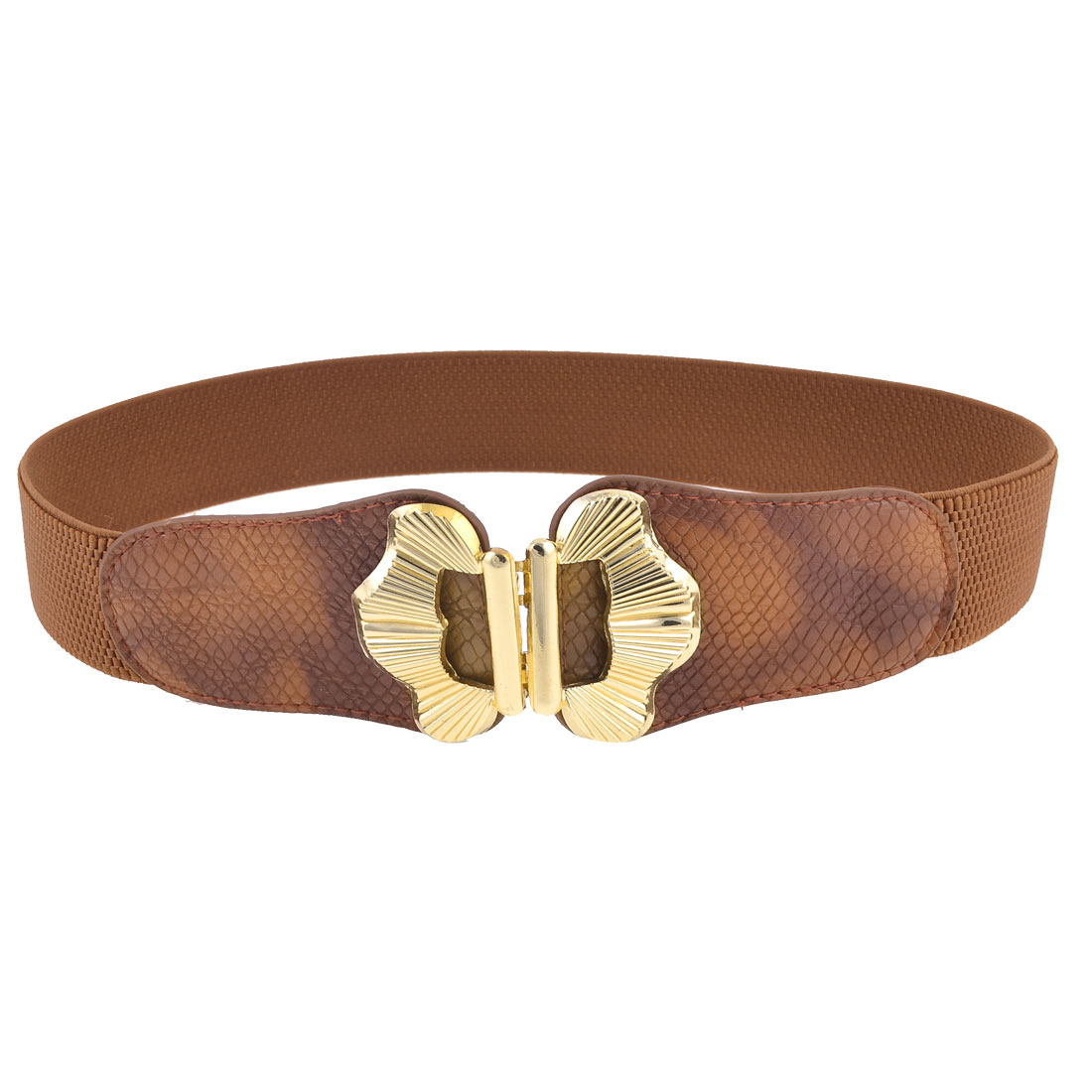 Lady 3.8cm Wide Butterfly Shape Metal Interlock Buckle Stretchy Waist Belt Brown